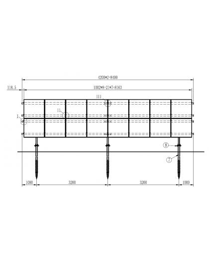 System montażu modułów fotowoltaicznych na grunt: 2 rzędy pionowo po 8 modułów.